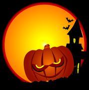 Evil halloween pumpkin scene Stock Illustration