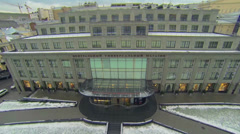 Central Department Store among dwelling house at winter Stock Footage