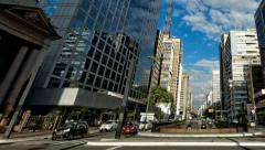 Pan Avenida Paulista day traffic time lapse Sao Paulo Brazil Stock Footage