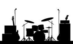 Rock band equipment silhouette Stock Illustration