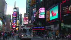New York - Circa 2008 - classic white city bus Stock Footage