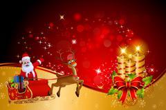 Santa claus with reindeer rudolph sleight - stock illustration