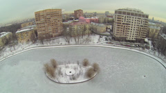 City panorama with Egersky pond at winter day Stock Footage