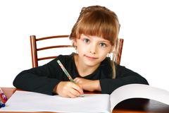 The little girl draws in an album felt-tip pens Stock Photos