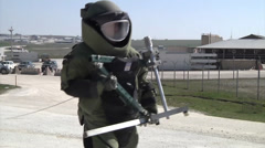 Explosive Ordinance Disposal Company performed remote entry procedures Stock Footage