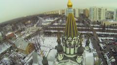 Traffic on street near Church of Resurrection in Sokolniki Stock Footage