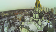 Stock Video Footage of Golden crosses on cupolas of Church of Resurrection in Sokolniki