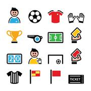 Soccer or football colorful vector icons set Stock Illustration