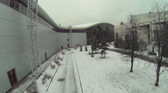 Backside of Mosekspo edifice at winter day. Aerial view Stock Footage
