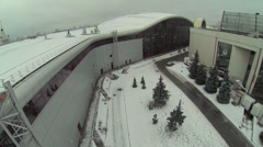 Backside of Mosexpo pavilion at winter day. Aerial view Stock Footage