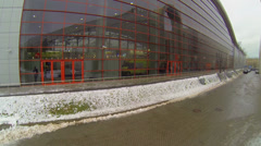 Glass wall of Mosexpo pavilion at winter day. Aerial view Stock Footage