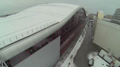 Backyard of Mosexpo pavilion at winter day. Aerial view Stock Footage