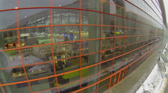 Exhibition area behind glass wall of Mosekspo pavilion Stock Footage