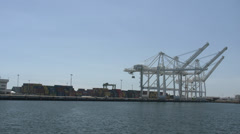 4K Port of Long Beach, Wharf and cranes Stock Footage
