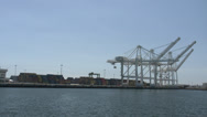 Stock Video Footage of 4K Port of Long Beach, Wharf and cranes