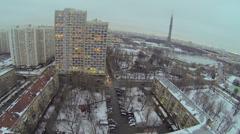 Cityscape with traffic near Ostankinskaya TV tower Stock Footage