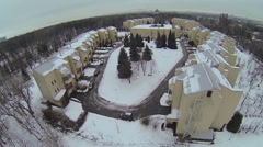 Cityscape with townhouse village Cosmonauts Town among forest - stock footage
