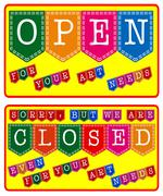 Art store open and closed sign Stock Illustration