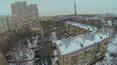 Cityscape with street traffic and Ostankinskaya TV tower Stock Footage