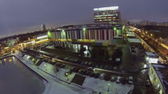 City traffic near television center at winter evening Stock Footage