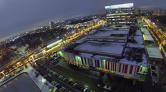 Cityscape with traffic near television center at winter Stock Footage