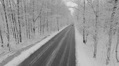 Stock Video Footage of Car ride away by road during snowfall in snow-covered forest