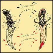 Daggers oldskool tattoo style Stock Illustration