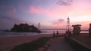 Stock Video Footage of Small island connected with bridge at sunset in Galle, Sri Lanka.