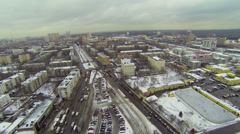 Cityscape with street traffic in Bogorodskoe district at winter Stock Footage
