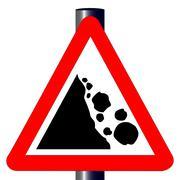 danger falling rocks traffic sign - stock illustration