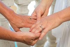 Lesbian wedding rings holding hands Stock Photos