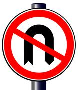 no u turn - stock illustration