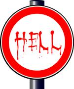 Spoof hell traffic sign Stock Illustration
