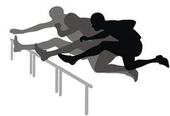 hurdle race - stock illustration