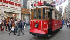 Nostalgic tramway in Beyoglu district in Istanbul Turkey (Editorial) - stock footage