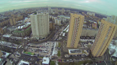 Cityscape with tall dwelling houses on street with traffic Stock Footage