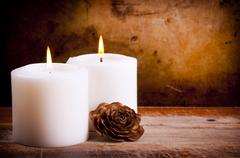 White Candles with Rose Stock Photos