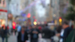 People walking in the street defocused slowmotion in Istanbul Stock Footage