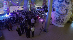 Guests walk by concert hall in AphiMall during Miss Office Award Stock Footage