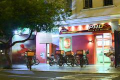 phd pizza hut delivery in miraflores, lima, peru - stock photo