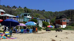 Beach And Historic Rental Cottages At Crystal Cove State Park Stock Footage