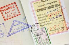Passport Stamps Background - stock photo