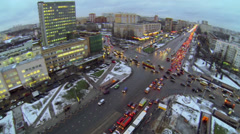 Cityscape with crossroad traffic on Preobrazhenskaya square Stock Footage