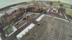 Army garrison with plateau near barracks at winter day Stock Footage