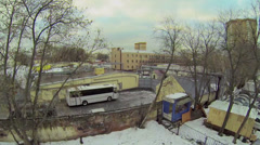 Military garrison with plateau near barracks at winter day Stock Footage