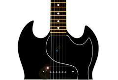 horned guitar - stock illustration