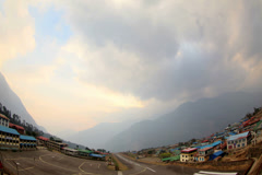 4K. Timelapse sunset at the airport Lukla. Mountains Himalayas, Lukla village Stock Footage