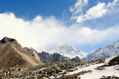 4K. Movement of the clouds on the mountains Gyazumba Glacier, Himalayas, Nepal.  Stock Footage