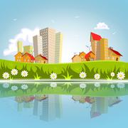 Stock Illustration of vector abstract city reflected on the water