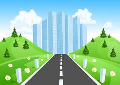 road through the countryside into the city - stock illustration